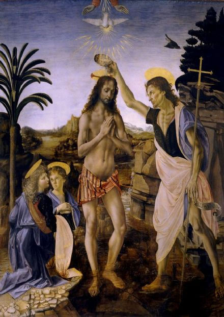 Da Vinci, Leonardo: The Baptism of Christ by John the Baptist. Fine Art Print/Poster. Sizes: A4/A3/A2/A1 (001395)